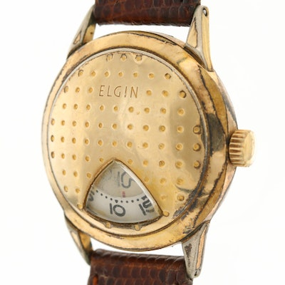 Elgin Direct Read 10K Rolled Gold Plate Golf Ball Style Wristwatch