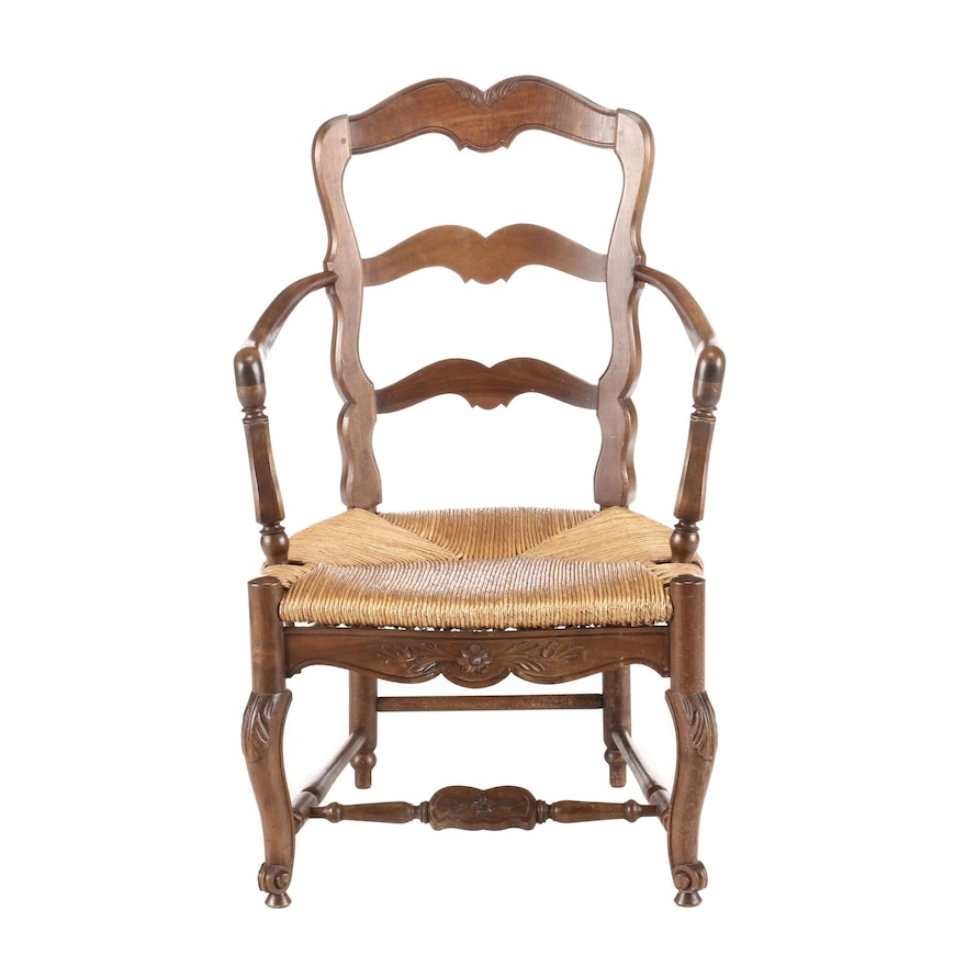 French Provincial Style Carved Walnut Open Armchair, 20th Century