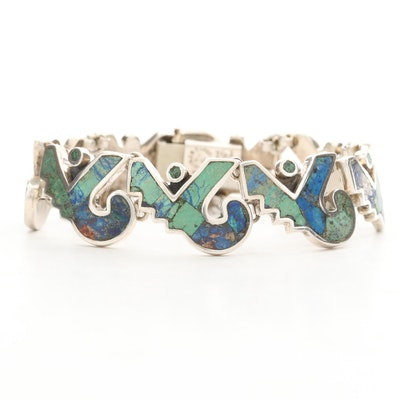 Los Castillo Sterling Mosaic Turquoise and Azuremalachite Inlay Link Bracelet