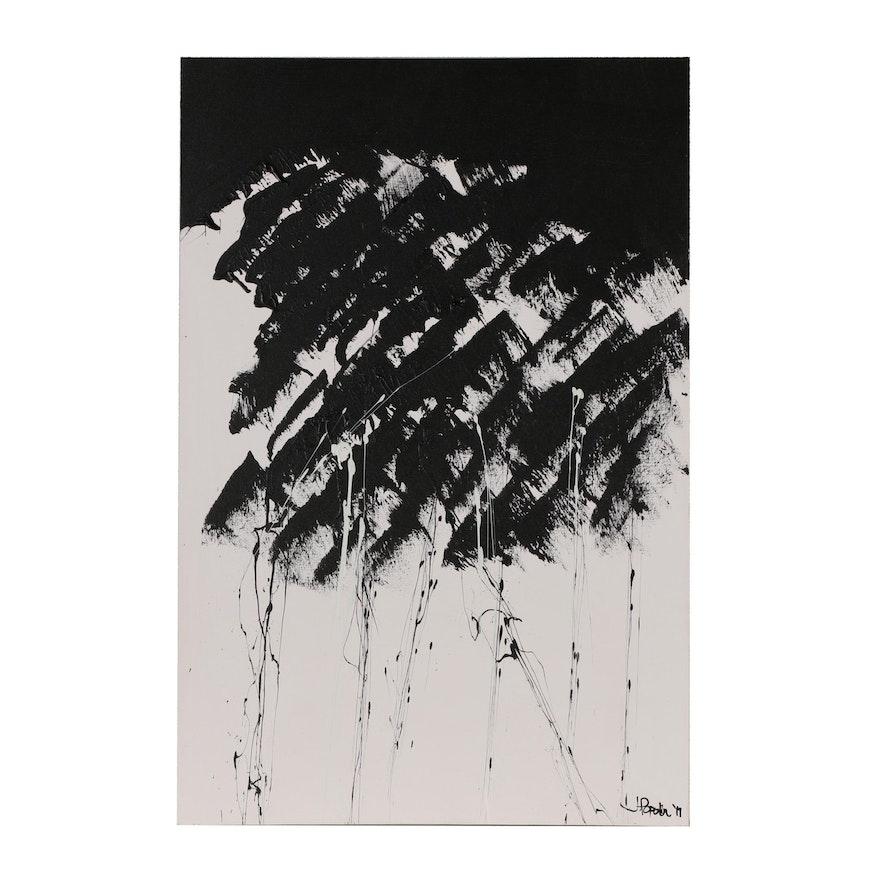 "J.Popolin Abstract Acrylic Painting ""Thunderstorm 1"""