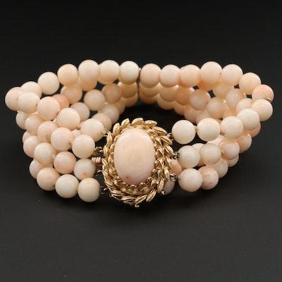 14K Yellow Gold Coral Triple-Strand Bracelet