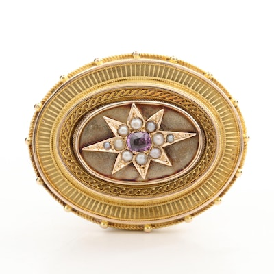 Victorian 14K Yellow Gold Purple Sapphire and Cultured Pearl Mourning Brooch