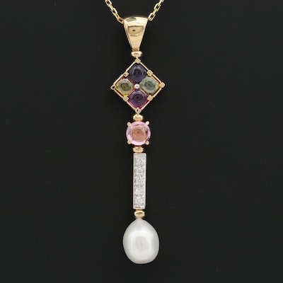 18K Yellow Gold Sapphire, Tourmaline, Diamond, and Cultured Pearl Necklace