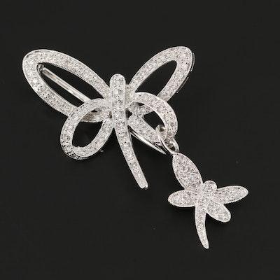 14K White Gold Diamond Dragonfly Brooch