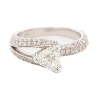 18K White Gold 2.10 CTW Diamond Ring with GIA Report