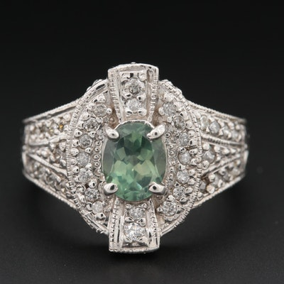 14K White Gold Alexandrite and Diamond Ring
