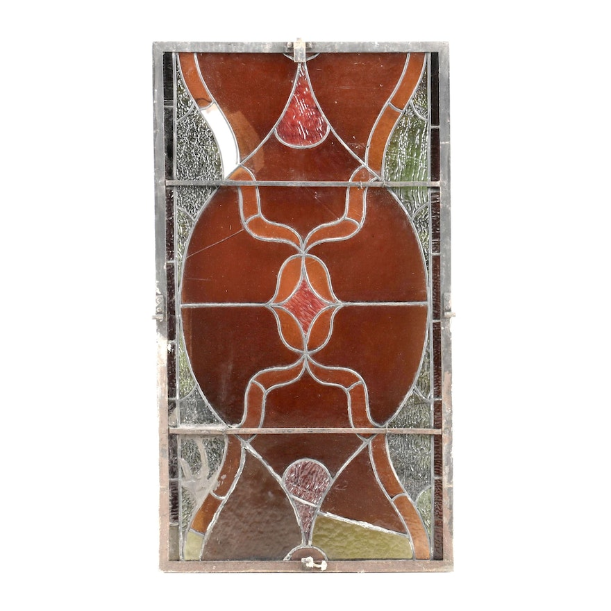 Leaded Stained Glass Window Panel, Early to Mid-20th Century
