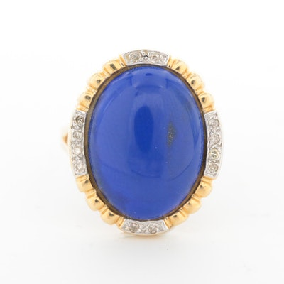 14K Yellow Gold Lapis Lazuli and Diamond Halo Ring