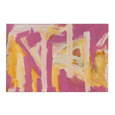 """Robbie Kemper Acrylic Painting """"Pink and Warm White Stripes"""""""