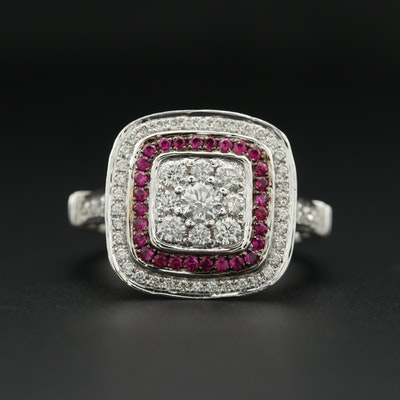 14K White Gold 1.21 CTW Diamond and Ruby Ring