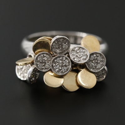 14K Yellow and White Gold Diamond Articulated Discs Ring