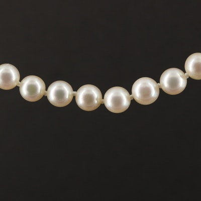 18K Yellow Gold Cultured Pearl and Diamond Necklace
