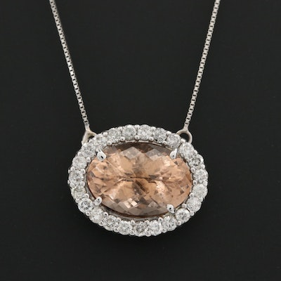 14K White Gold Morganite and 1.00 CTW Diamond Pendant Necklace