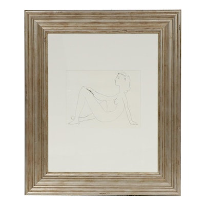 """Lithograph after Pablo Picasso """"Seated Nude in Profile"""""""