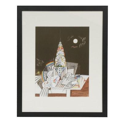 """Saul Steinberg Color Lithograph for """"Derrière le Miroir"""""""