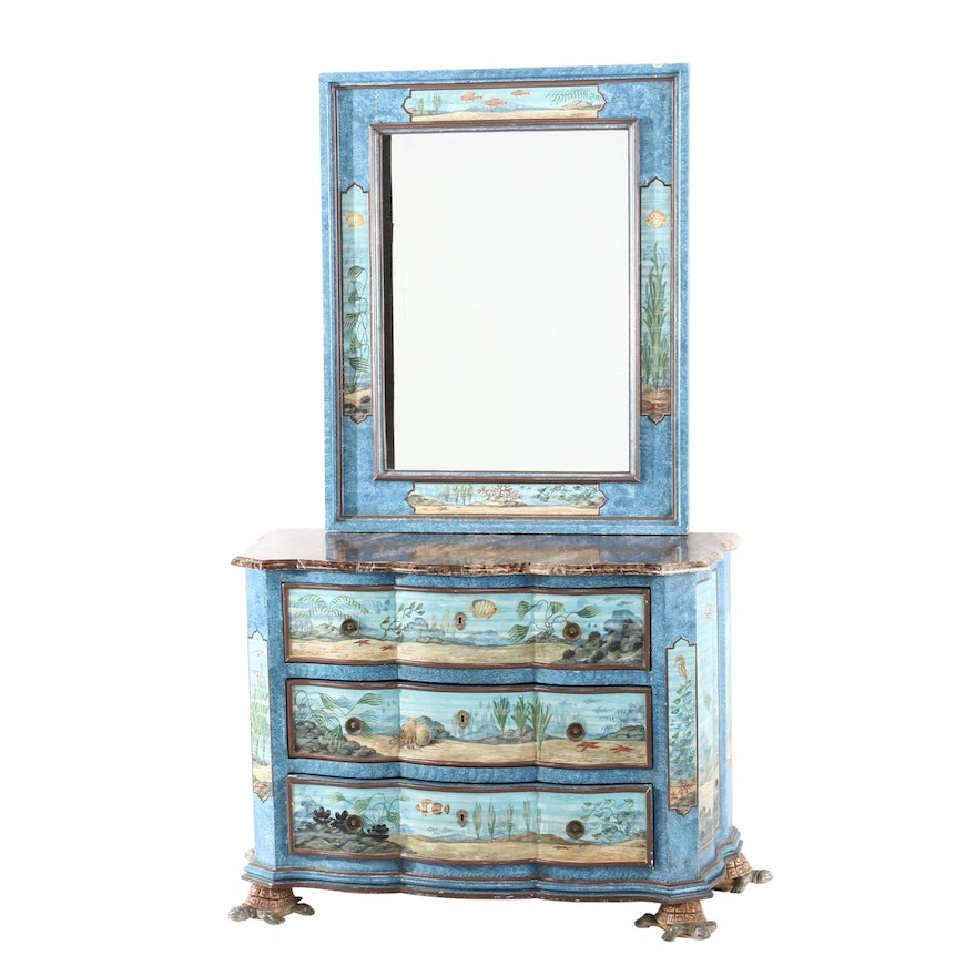 Ditta Pieri & Son, Hand-Painted Marine-Themed Chest and Mirror, 20th Century