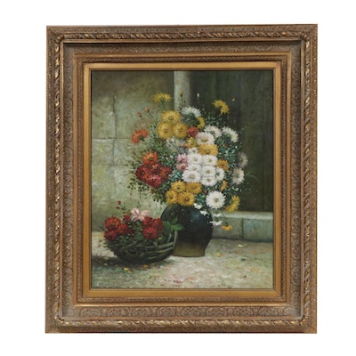 Impressionist Style Floral Still Life Impasto Oil Painting