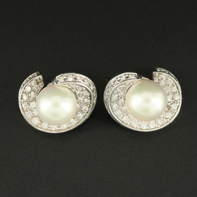 18K White Gold Cultured Pearl and 1.00 CTW Diamond Earrings