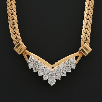 14K Yellow Gold Diamond and Herringbone Chain Necklace