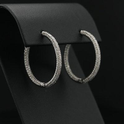 18K White Gold 1.97 CTW Diamond Inside-Out Hoop Earrings