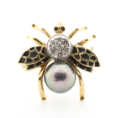 18K Yellow Gold Cultured Pearl and Diamond Insect Brooch