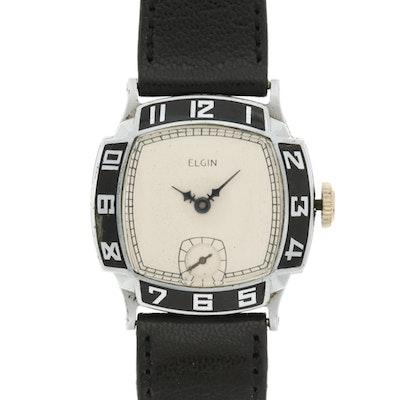 "Elgin 1930's ""Art Deco"" Style Nickel Wristwatch"