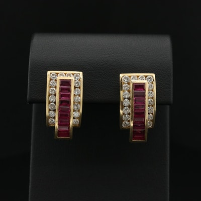 Charles Krypell 18K Yellow Gold 2.02 CTW Diamond and Ruby Earrings