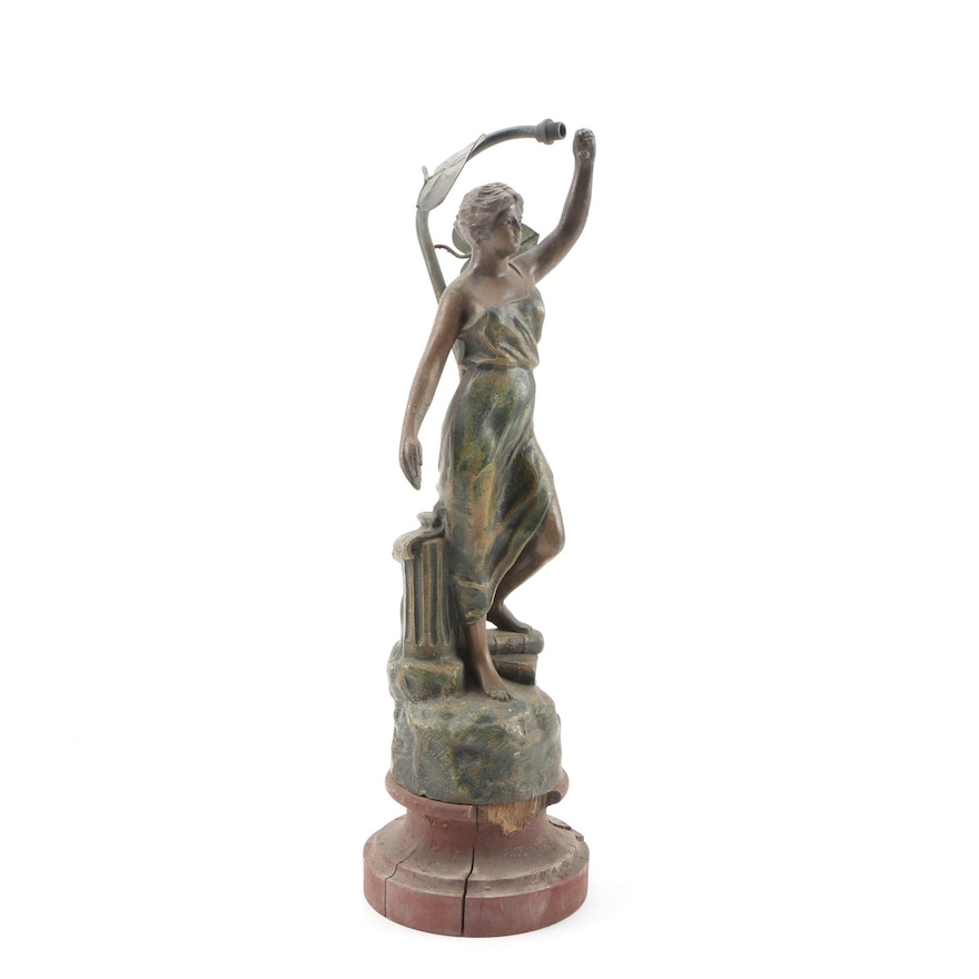 Lady Justice Painted Metal Lamp, Mounted as a Figurine