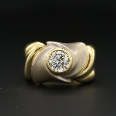 18K Yellow Gold 1.02 CT Diamond Ring