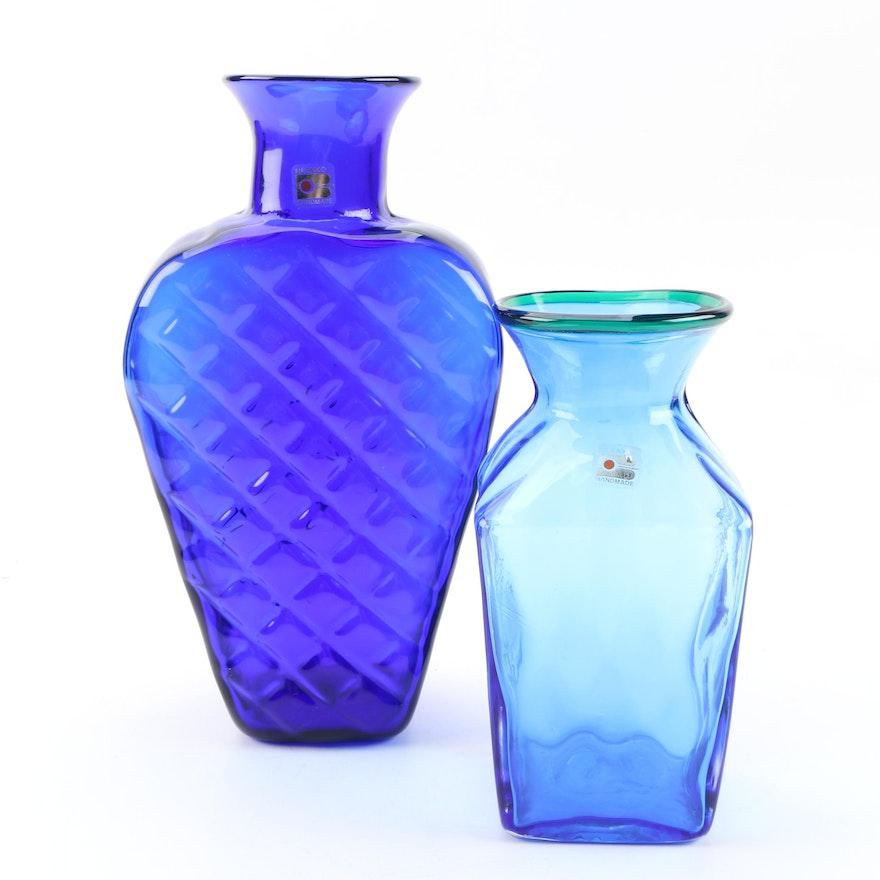 Blenko Hand-Blown Art Glass Vases