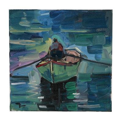 "Jose Trujillo Oil Painting ""The Row Boat"""