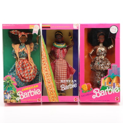 "Mattel ""Dolls of the World"" Collection Kenyan, Nigerian, and Jamaican Barbies"