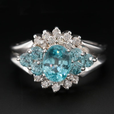 14K White Gold Topaz and Diamond Ring