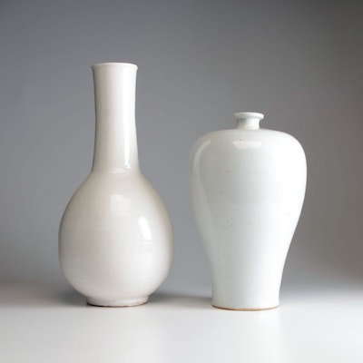 Chinese White Ceramic Meiping Style Vase and Bottle Vase