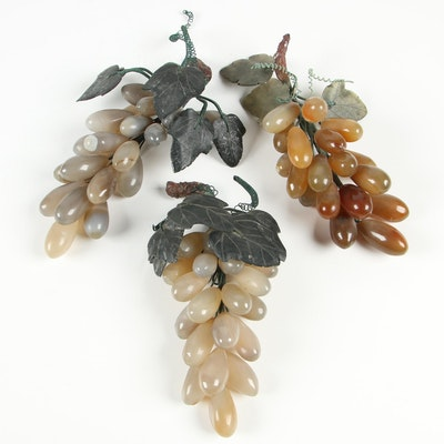 Decorative Stone Grapes with Soapstone Leaves