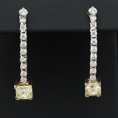 14K White and Yellow Gold 2.51 CTW Diamond Earrings