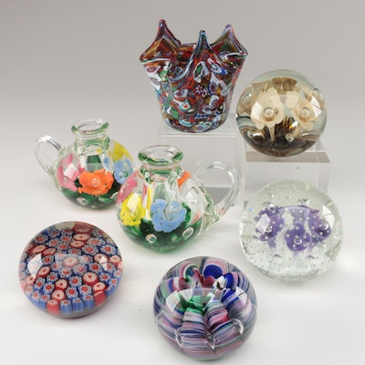 Joe Rice Paperweights, St. Clair Candleholders, and Murano Style Bowl