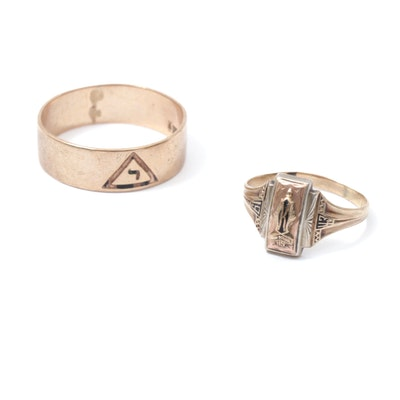 Vintage 10K Yellow Gold Masonic Band and 1943 Class Ring