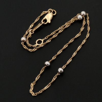14K Yellow Gold Bracelet with Sterling Silver Spheres
