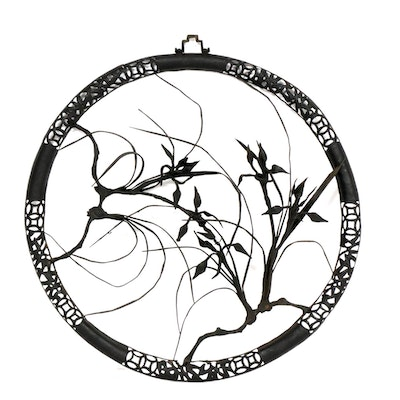 Asian Wrought Iron Floral Wreath Wall Hanging