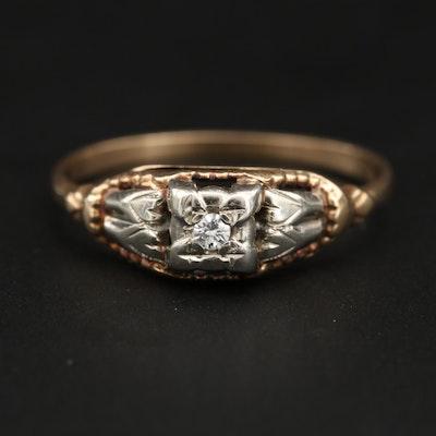 10K and 14K Yellow Gold Diamond Ring