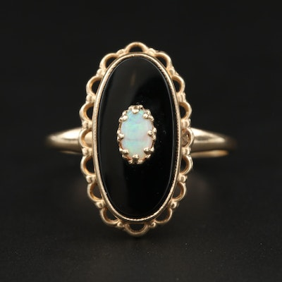 Vintage Plainville Stock Co. 10K Yellow Gold Black Onyx and Opal Ring