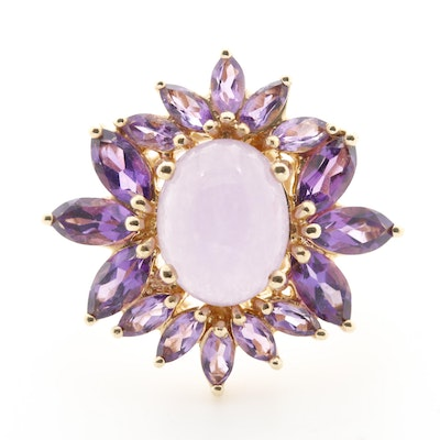 14K Yellow Gold Jadeite and Amethyst Ring