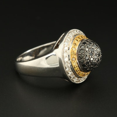 18K White Gold 1.24 CTW Diamond Ring Including Black and Yellow Diamond
