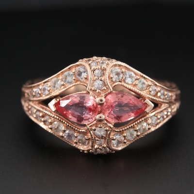 14K Rose Gold Padparadscha Sapphire and White Sapphire Floral Motif Ring