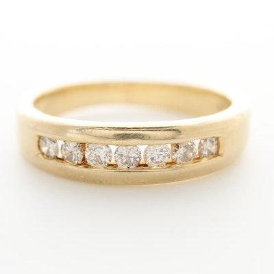 14K Yellow Gold Diamond Channel Ring