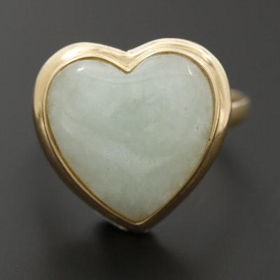 14K Yellow Gold Jadeite Heart Ring