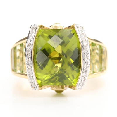 18K Yellow Gold Peridot and Diamond Ring