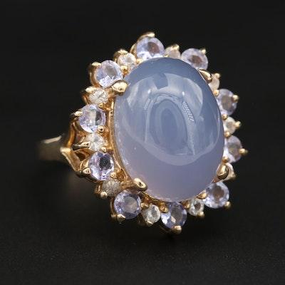 14K Yellow Gold Blue Chalcedony, Tanzanite and Topaz Ring