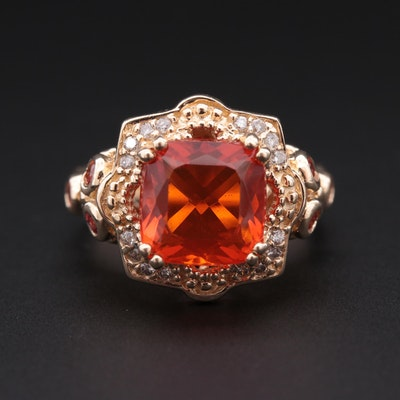 14K Yellow Gold Fire Opal, Sapphire and Diamond Ring